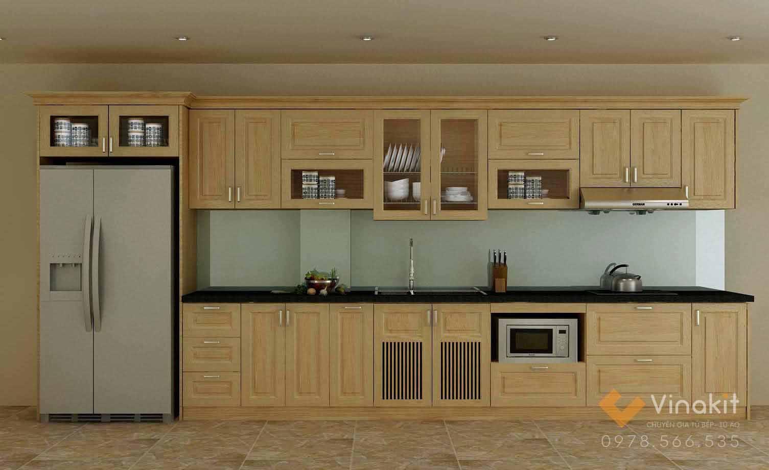Ảnh: Một bộ tủ bếp gỗ tần bì